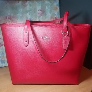 Coach City Zip Tote - Red - Like New